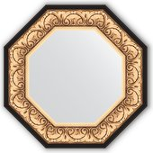 Зеркало Evoform Octagon 604x604 в багетной раме 106мм, барокко золото BY 3844