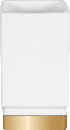 Стакан керамический, белый/золото Spirella Roma 1017976