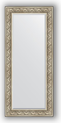 Зеркало с фацетом в багетной раме 70x160см барокко серебро 106мм Evoform BY 3580