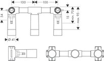 Скрытая часть смеситель для раковины на 3 отверстия Hansgrohe 10303180