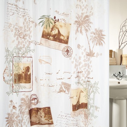 Штора для ванной комнаты 180x200см текстильная, бежевая Spirella KAYA 1017892