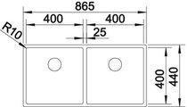 BLANCO CLARON 400/400-U Схема с размерами вид сверху