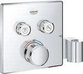 Термостат для душа Grohe Grohtherm SmartControl, квадратный, 2 потребителя, с держателем, хром 29125000
