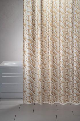 Штора для ванны 180x200см бежевая с кольцами 12шт Grund Mosaico 2179.98.1050