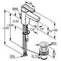 Смеситель однорычажный с донным клапаном для раковины, хром Kludi Q-BEO 500230575