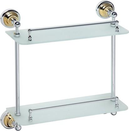 Полка для ванной, двойная стеклянная 400мм, золото-хром, Bemeta 144202128