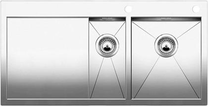 Кухонная мойка чаши справа, крыло слева, с клапаном-автоматом, нержавеющая сталь зеркальной полировки Blanco Zerox 6 S-IF/A 513705