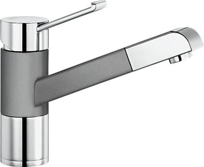 Смеситель кухонный однорычажный с выдвижным изливом, хром / алюметаллик Blanco ZENOS-S 517820
