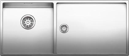 Кухонная мойка основная чаша слева, без крыла, нержавеющая сталь зеркальной полировки Blanco Claron 400/550-Т-IF 517232