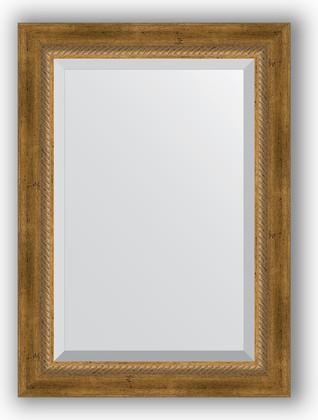 Зеркало с фацетом в багетной раме 53x73см состаренное бронза с плетением 70мм Evoform BY 3380