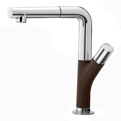 Смеситель кухонный однорычажный с выдвижным изливом, кофе / хром Blanco YOVIS-S 518299