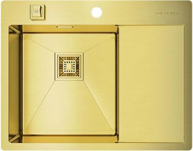 Кухонная мойка с правым крылом, нержавеющая сталь, золото Omoikiri Akisame 65-LG-L 4993083