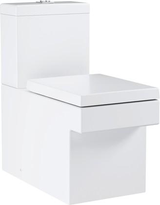 Унитаз напольный Grohe Cube Ceramic, безободковый, подвод воды снизу, комплект (чаша, бачок, сиденье) 3948400H/39490000