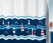 Штора для ванны 180x200см текстильная синяя Spirella CLIPPERI 1016736