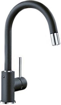 Смеситель для кухонной мойки однорычажный с высоким выдвижным изливом, SILGRANIT антрацит Blanco MIDA-S 521455