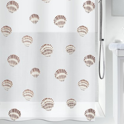 Штора для ванны 180x200см коричневая Spirella SHELL 1015239