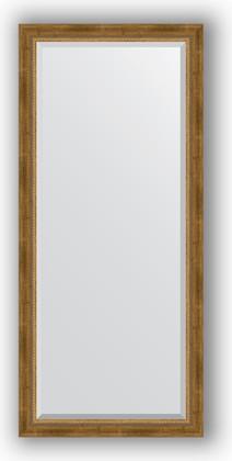 Зеркало с фацетом в багетной раме 73x163см состаренное бронза с плетением 70мм Evoform BY 3588