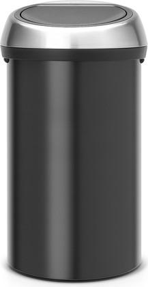 Ведро для мусора 60л чёрное матовое со стальной крышкой Brabantia Touch Bin 402548