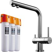 Комплект смеситель для кухни Omoikiri Nagano-C с краном фильтрованной воды и водоочиститель Pure drop Lite, хром 4146.8028