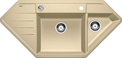 Кухонная мойка крыло слева, с клапаном-автоматом, гранит, шампань Blanco Lexa 9 E 515100