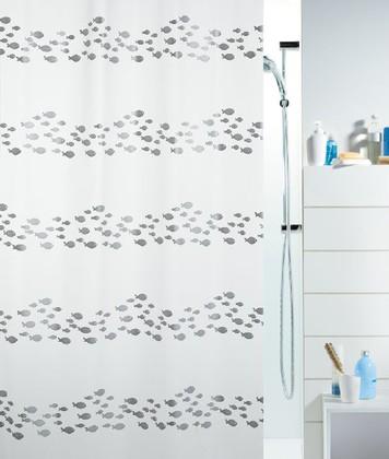 Штора для ванны 180x200см бело-серая Spirella SHORE 1011571
