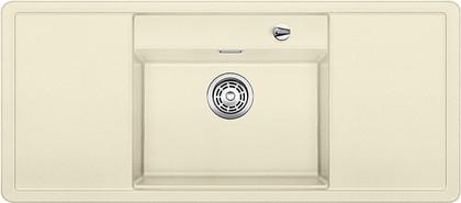 Кухонная мойка с крылом, чаша в центре, с клапаном-автоматом, чёрные аксессуары, гранит, жасмин Blanco Alaros 6 S 516561