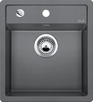 Кухонная мойка без крыла, с клапаном-автоматом, гранит, алюметаллик Blanco Dalago 45 517157