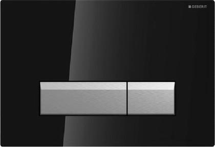 Клавиша двойного смыва со встроенной системой удаления запаха, чёрное стекло и полированный алюминий Geberit Sigma40 115.600.SJ.1