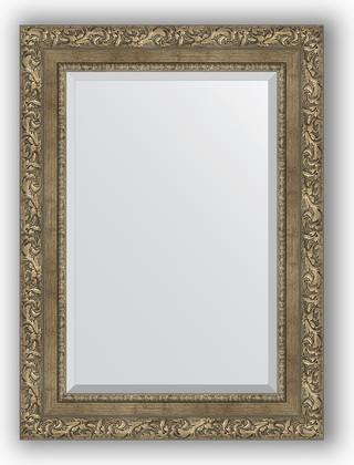 Зеркало с фацетом в багетной раме 55x75см виньетка античная латунь 85мм Evoform BY 3385