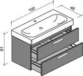 Тумба с раковиной Verona Optima 100, подвесная, два ящика, накладные ручки, глянцевая эмаль Ot206G