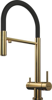 Смеситель для кухни однорычажный с выдвижным изливом и подключением фильтра для очистки воды, светлое золото Omoikiri Kanto-PVD-LG 4994014