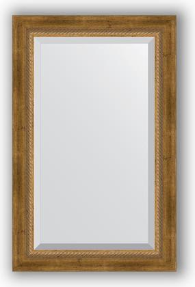 Зеркало с фацетом в багетной раме 53x83см состаренное бронза с плетением 70мм Evoform BY 3406