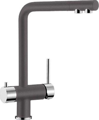 Смеситель кухонный однорычажный с высоким изливом для обычной и питьевой воды, тёмная скала Blanco FONTAS 518808