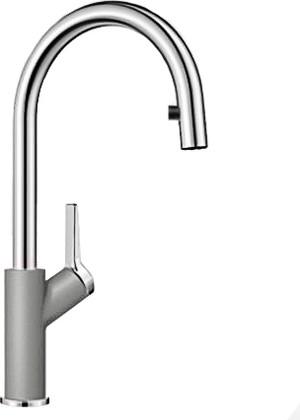 Смеситель кухонный однорычажный с высоким выдвижным изливом, алюметаллик Blanco CARENA-S 520982