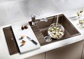 Кухонная мойка оборачиваемая с крылом, гранит, белый Blanco Zia XL 6 S 517571