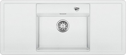Кухонная мойка с крылом, чаша в центре, с клапаном-автоматом, чёрные аксессуары, гранит, белый Blanco Alaros 6 S 516560