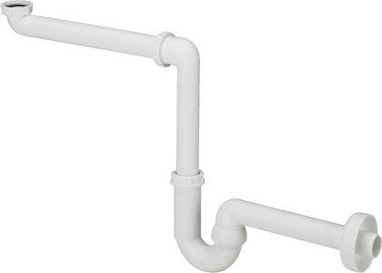 Сифон для раковины трубный, белый пластик Viega 606220