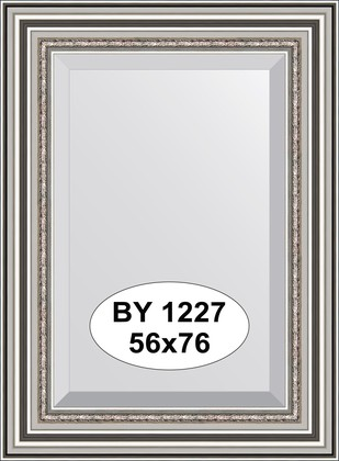 Зеркало 56x76см с фацетом 30мм в багетной раме римское серебро Evoform BY 1227