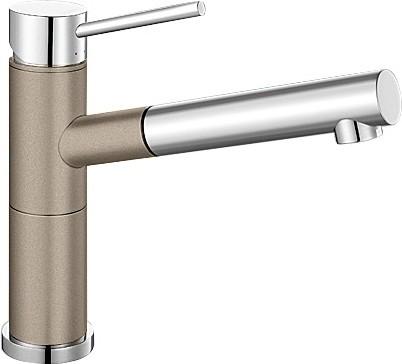 Небольшой кухонный однорычажный смеситель с выдвижным изливом, хром / серый беж Blanco ALTA-S Compact 517634