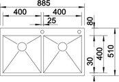 BLANCO ZEROX 400/400-IF/A Схема с размерами вид сверху
