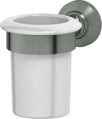Стакан, фарфоровый с настенным металлическим держателем, античное серебро 3SC STI 403