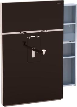Инсталляция для подвесного умывальника и смесителя, выдвижной ящик справа 10 см, стекло умбра Geberit MONOLITH 131.049.SQ.1