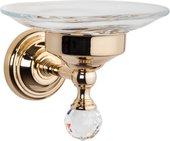 Мыльница настенная стеклянная, золото с кристаллом swarovski TW Crystal TWCR106oro-sw