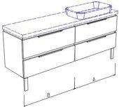 Тумба напольная, 4 ящика, без столешницы и раковины 180х50х50см Verona Ampio AM214.A090.B090.000