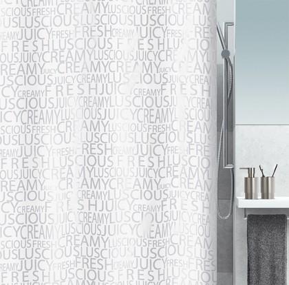 Штора для ванны 180x200см текстильная серебристая Spirella CREAMY 1016276
