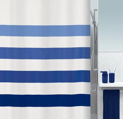 Штора для ванны 180x200см текстильная синяя Spirella FOUR 1016270