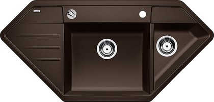 Кухонная мойка крыло слева, с клапаном-автоматом, гранит, кофе Blanco Lexa 9 E 515105