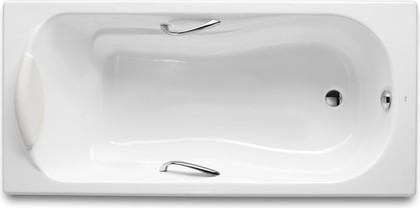 Ванна чугунная с отверстиями под ручки 170x80см белая Roca HAITI 2327G000R