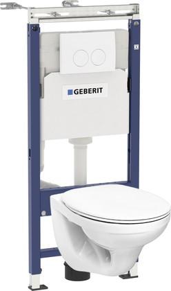 Унитаз с инсталляцией Geberit + Kolo Idol, крышка-сиденье, кнопка белая 458.122.2U.1