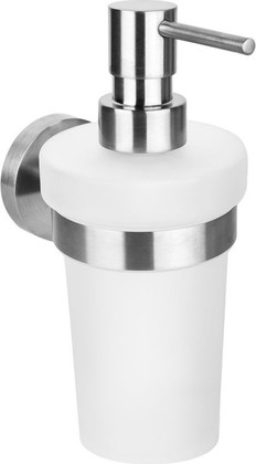 Дозатор для жидкого мыла Bemeta Neo настенный, стекло, матовая сталь 104109016